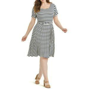 Gilli 0X Navy White Stripe Fit Flare Dress A56-08